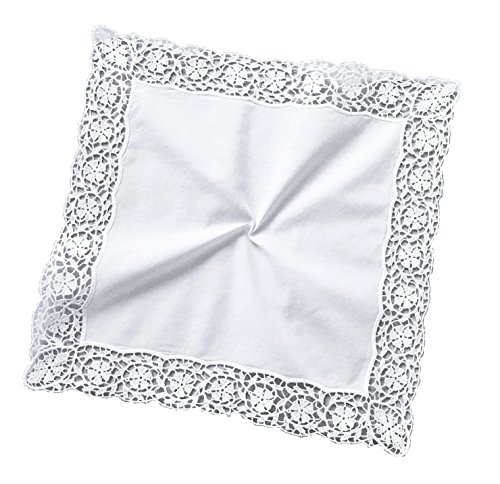 - MyButterflyBasket Bridal Wedding Floral Wheel Embroidered Lace Handkerchief for Woman/White,B606.