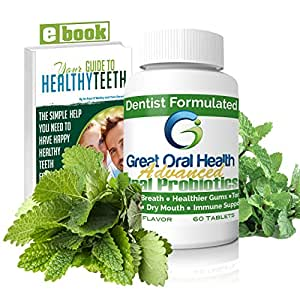 Great Oral Health Chewable Advanced Oral Probiotics ~ Attack Bad Breath, Gum Disease And Build Strong Oral Health. Contains BLIS M18 and BLIS K12 ~ Full 60 Tabs ~ 83 Page eBook Included!