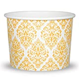 Premium 12 oz Elegant Gold Paper Ice Cream Cups For Weddings and Parties - Comes In Many Colors & Sizes! Fast Shipping - Frozen Dessert Supplies - Made in USA! 50 Count