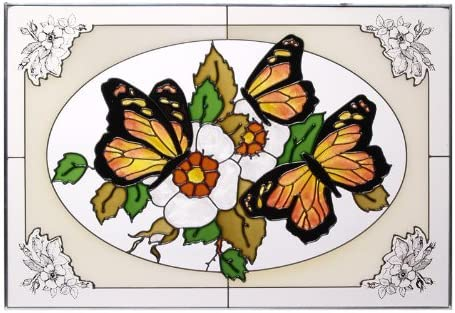 Butterflies Painted Stained Glass Panel V-227