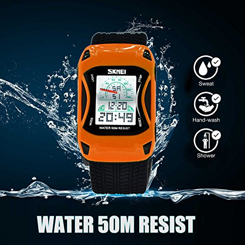 Kids Watches LED Waterproof 3D Car Silicone Children Toddler Wrist Watches Time Teacher Gift for Boys Girls Little Child Orange by Etway (Image #1)