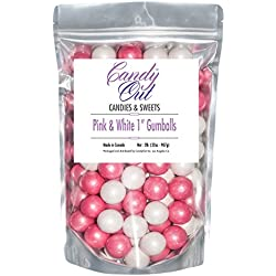 Pink and White 1 inch gumballs 2lb in Stand-up bag