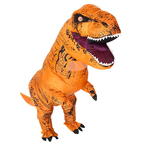 HEYMA Adult T Rex Inflatable Dinosaur Party Costume Funny Dress Brown for Halloween,Christmas Party  -