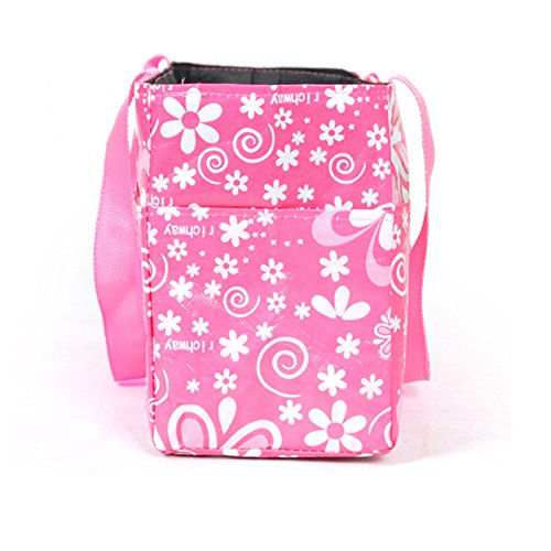 Gosear Organizador de Bolso de Bebé Pañales Pañal Almacenamiento / Bolso de Mano Cosmético de Madre de Momia Portable de Viaje al Aire Libre (Patrón Flores,Negro) Rosa
