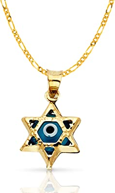 14K Tri Color Gold Diamond Cut Baptism Stamp Charm Pendant with 1.6mm Figaro 3+1 Chain Necklace