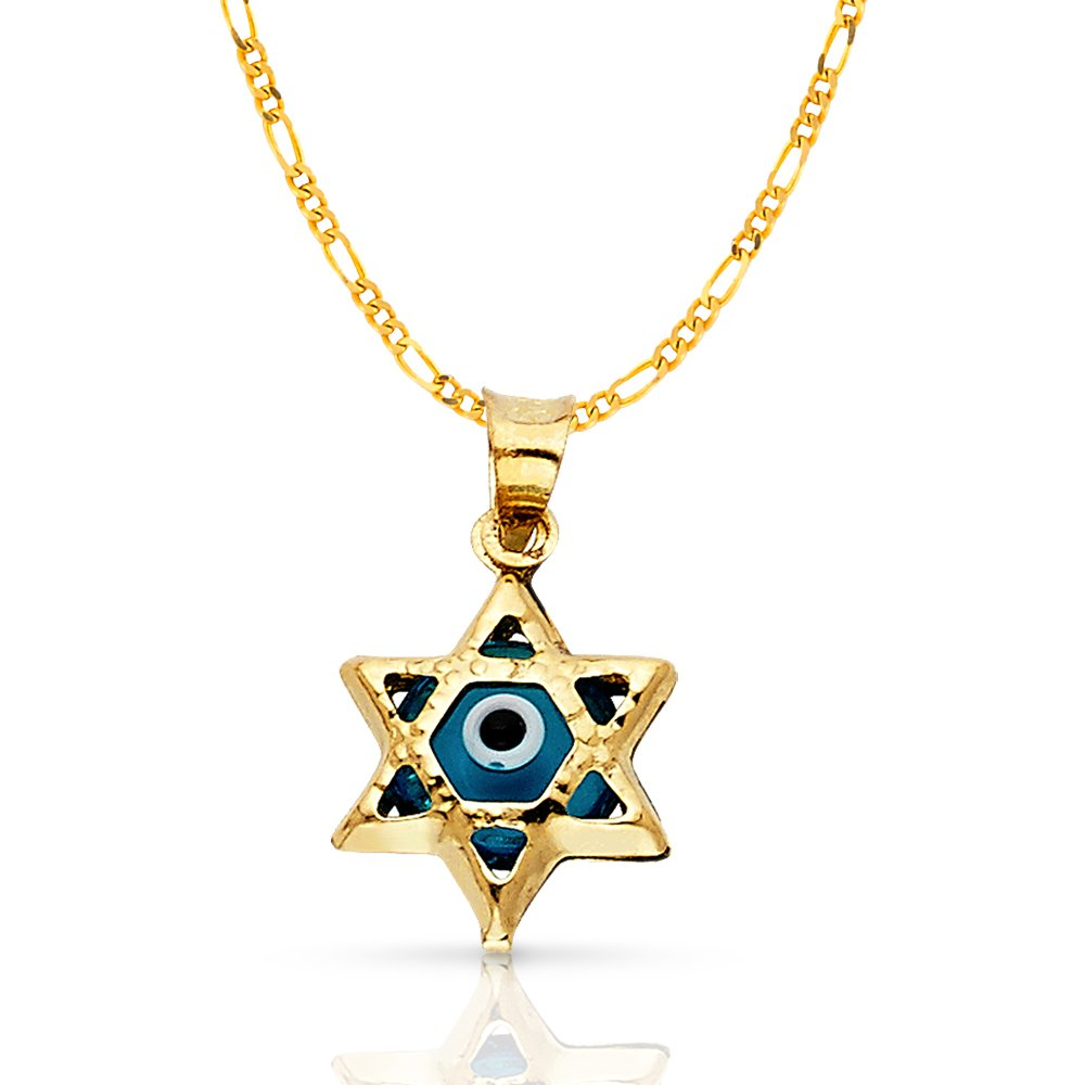 14K Yellow Gold Evil Eye Star Charm Pendant with 1.6mm Figaro 3+1 Chain Necklace