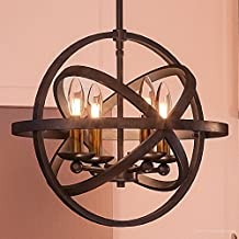"Luxury Vintage Chandelier, Medium Size: 14.25""H x 15""W, with Transitional Style Elements, Sphere Design, Brass Accented Elegant Estate Bronze Finish and Open Circles Shade, UQL2303 by Urban Ambiance"