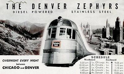 The Denver Zephyr Train - Chicago and Denver - Vintage Postcard Poster