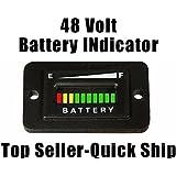 48V Volt LED Battery Indicator Meter Gauge Charge Discharge Testers for Lead-acid Battery Motorcycle EZGO Club Car Yamaha Golf Cart Car Jet Ski Rectangle