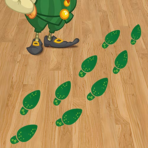 St. Patrick's Day Decorations, Leprechaun Footprint Floor Clings Stickers Removable Shamrock Foot Stickers for Window Walls Saint Patty's Day Party Favors Supplies Decoration, 36 Pairs for $<!--$6.59-->