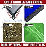Chill Gorilla 10×10 Hammock Waterproof Rain Fly Tent Tarp 170″ Centerline. Ripstop Nylon & Not Cheap Polyester Cover. Stakes Included. Survival Gear Backpacking Camping Camp Accessories. Gray