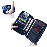 Travel Passport Wallet Holder Organizer,Over 18 Pockets iPad Cellphone Cover Case Foldable Storage Handbag Document Receipt Ticket Boarding Card Credit ID Card Cash Holder Purse Sleeve Tote Bag