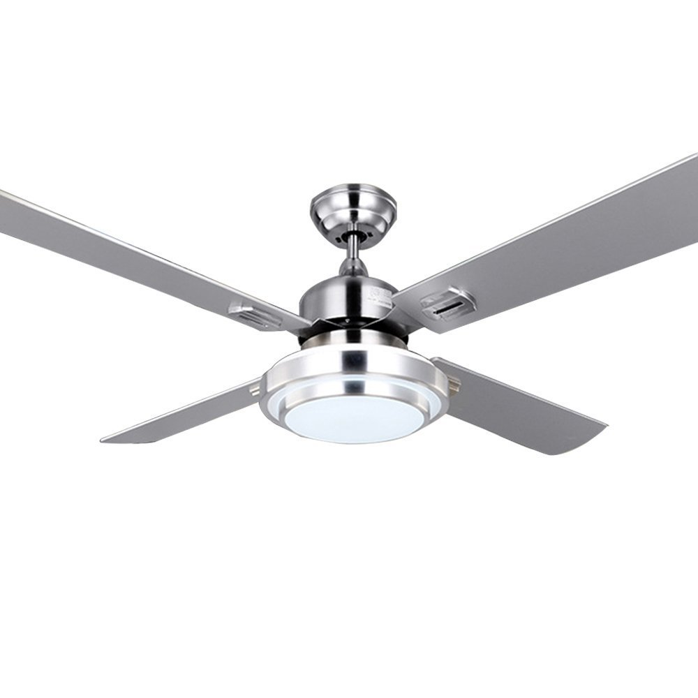 RainierLight Modern Silver Ceiling Fan Household Decorative for Indoor with Remote Control LED 3 Changing Light One Opal Glass Lampshade Chandelier Lighting Fixture (48inch)