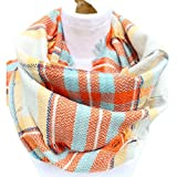 Epic Brand Infinity Scarf Collection for Men and Women | Comfortable Plaid Tartan Cashmere Blanket Circle Winter Scarves (Plaid Orange/Beige)