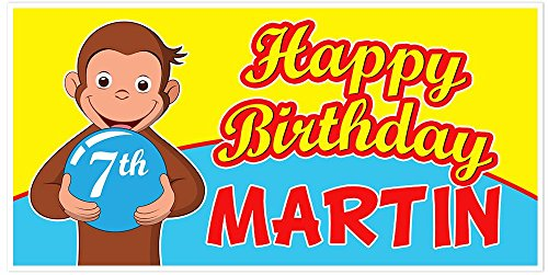 Curious George Birthday Banner Party Backdrop -