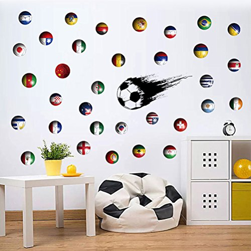 (6 Pcs Soccer Football World Cup Nation Flags Country Flags Decals Boys Room Children Bedroom Decorative Wall Paper Closet Wardrobe Drawer Table)