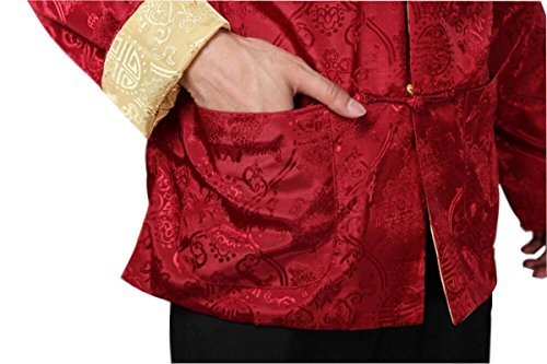 Blingland Chinese Traditional Uniform Top KungFu Shirt for Men US M Asia L-Red+Gold Photo #5