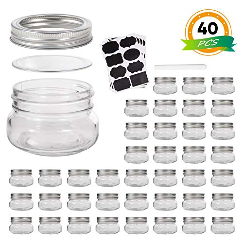 Mini Mason Jars, Glass jar 5OZ With Regular Lids and Bands,Ideal for Jam,Honey,Wedding Favors,Shower Favors,Baby Foods,40 PACK, -