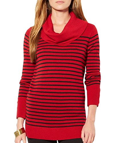 Lauren Ralph Lauren Stripe Cowl Neck Sweater, P-M, Heritage Red/ ()