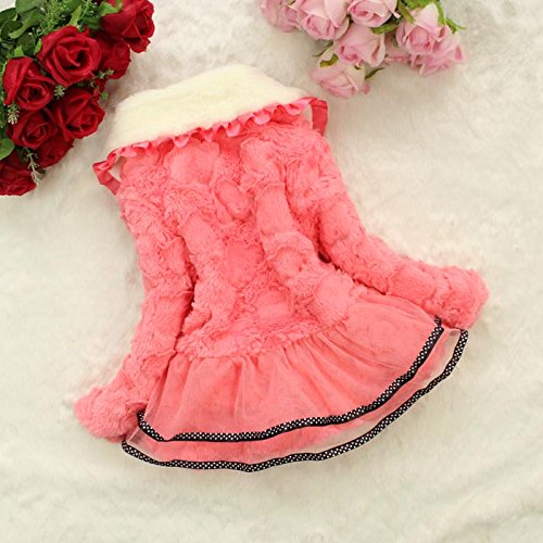 Baby Girls Kids Faux Fur Lace Warm Jacket Winter Coat Snowsuit Outwear Clothing 5T/4-5Years Pink by Dolpind (Image #2)