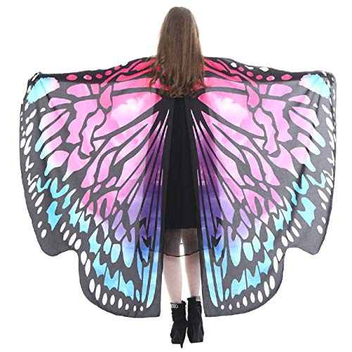 Wintialy Women Butterfly Wings Shawl, Wintialy Scarves Ladies Nymph Pixie Poncho Costume Hot Pink -