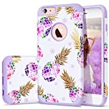 6S Plus Case,iPhone 6 Plus Case Purple,Fingic Floral Pineapple&Snowflake Thin Case Hard PC&Soft Rubber Anti-Scratch Shockproof Phone Case for iPhone 6/6S Plus,Floral Pineapple/Purple