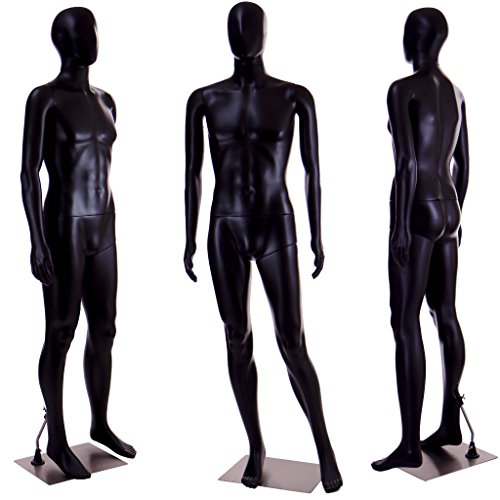 Standing Male Adult Mannequin (Black Egghead) + Base - Body Male Mannequin Full