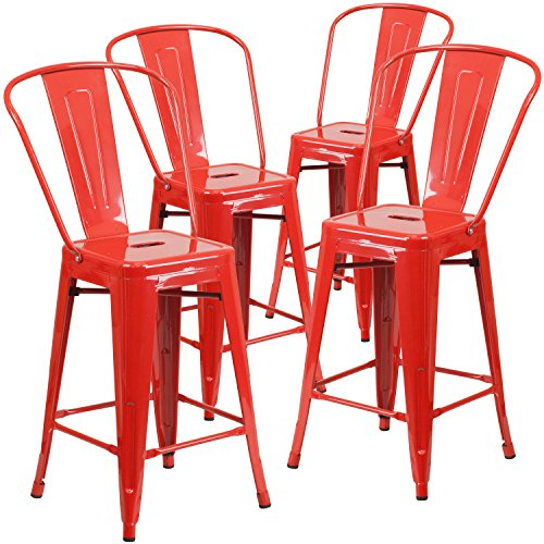 Flash Furniture 4 Pk. 24'' High Red Metal Indoor-Outdoor Counter Height Stool with Back