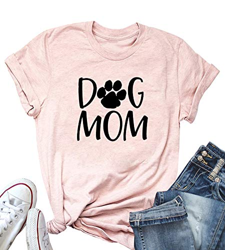 ALLTB Obsessed Dog Mom Shirt Women Funny Letters Print Short Sleeve Tops for Mama O Neck Casual Tees (Pink, S)