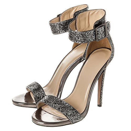 High Heels Stiletto Ankle Strap Sandals Peep Toe Sandal With Side Buckle Size 3 4 5 6 7 8 PEWTER GLITR 2GBZIzCpt5