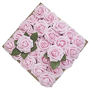 Umiss Roses Artificial Flowers Fake Flowers Wedding Decorations Set 50pcs Artificial Flora DIY Wedding Home Office Party Hotel Restaurant Patio Yard Decoration (Pink) 8