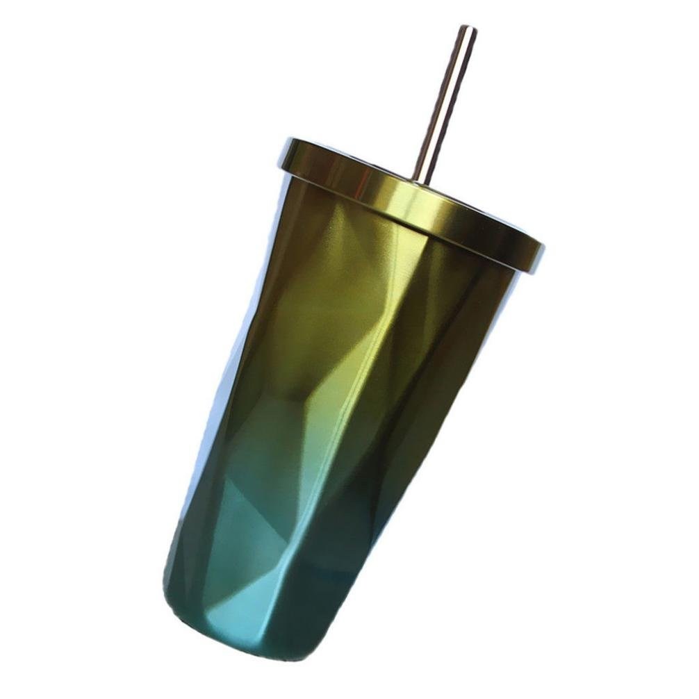 Sikye Coffee Cup,Insulated Travel Thermal Cup Double Wall Vacuum Drinking Cup 500ml with Straw (Yellow)