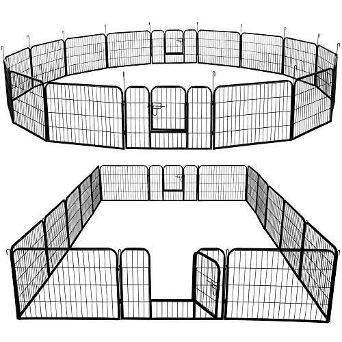 "YAHEETECH 32″/40""H Foldable Pet Pen – Metal Outdoor Dog Pen Puppy Cat Exercise Fence Barrier Kennel 8/16/24/32 Panels"