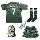 2016/2017 Real Madrid RONALDO #7 BLUE Soccer Kids Jersey & Short & Sock & Soccer Bag Youth Sizes