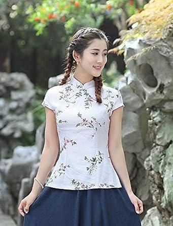 YueLian Mujeres Elegante Retro Manga Corta Patrón Floral Talla 36-44 Traje chino Blusas Chinas Top Blanco (L): Amazon.es: Ropa y accesorios