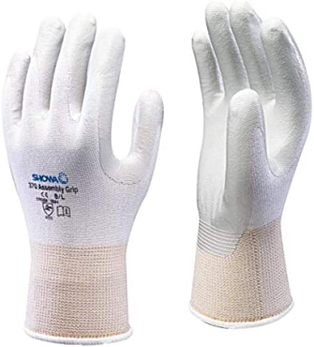 Black Showa 370 Black Nitrile Palm Coated Work Gloves,6//Small