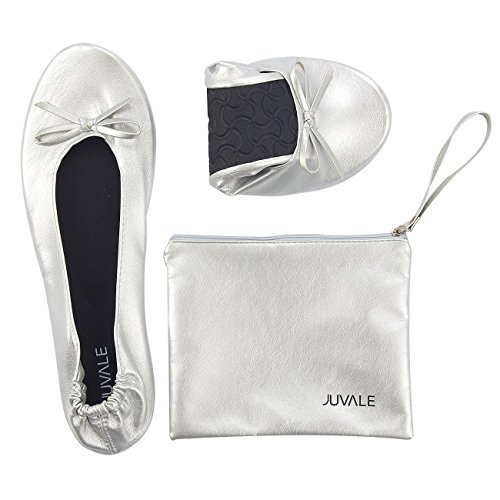 Juvale Foldable Ballet Flats - Extra Large, US 10.5-12 Womens Portable Ballerina Roll up Shoes with Matching Carrying Pouch for Travel, Silver