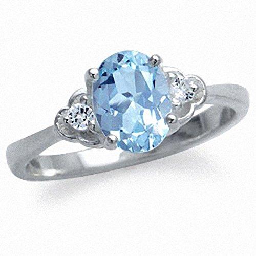 1.51ct. Genuine Blue & White Topaz 925 Sterling Silver Engagement Ring Size 5 (Genuine Engagement Topaz Ring)