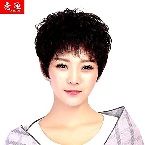 Chemo Loose Breathable Short Curly Hair Wig Women Girls Female Short Hair Show Di Ms Middle Aged Mother Wig Fashion Style Peng Amazon Ca Beauty