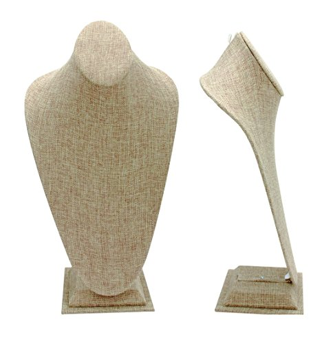 888 Display Gorgeous Burlap Tall Neckform - Display Any Necklace in Style ()