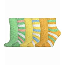TeeHee Fashionable Cozy Fuzy Slipper Women's 6 Pairs Crew Socks