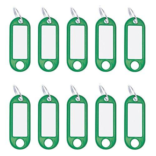 Wedo 262101804 Schlüsselanhänger Kunststoff mit Ring, auswechselbare Etiketten, 10 Stück, grün