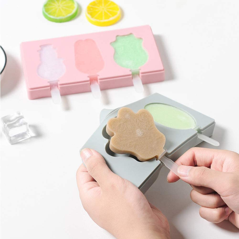 Hokitwa Lot de 10 moules /à glace Popsicle en silicone facile /à enlever avec couvercle S/érie A