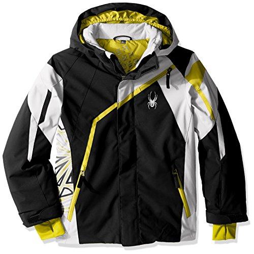 Spyder Boys Challenger Jacket, Size 12, Black/Cirrus/Sulfur Spyder Boys Jacket