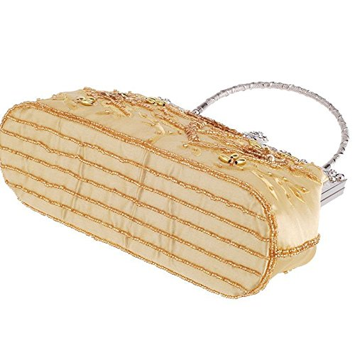 Bridal Clutch Bag Embroidered Chain Evening Bag Banquet Bag Beaded Vintage Gold Handbag Dinner Silk Ladies Cheongsam Bag YwTxAP
