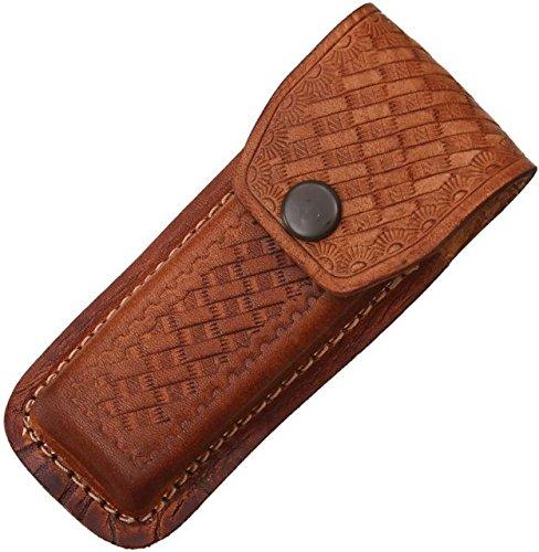 Sheath Folding Knife Sheath, Brown leather w/ embossed basketweave, 4.5-5.25in SH1132/SH202 BROWN