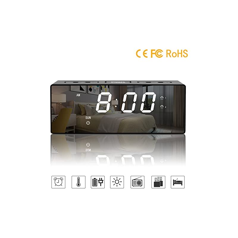 JINKAKA Alarm Clock Digital Radio Clock