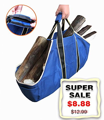 Gardzen Premium Log Carrier, Heavy Duty Ployester Firewood Tote Bag With Large Capacity, Best For Fireplaces, Wood Stoves, Firewood, Logs, Camping, Beaches, Landscaping