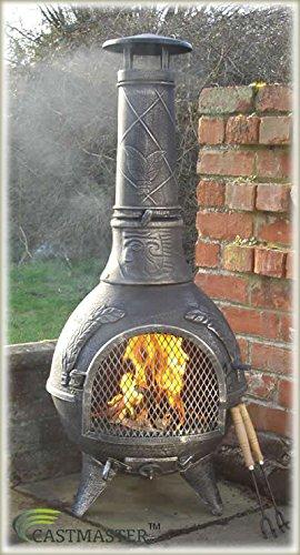 Castmaster – Chimenea de hierro fundido Calico – Parrilla para barbacoa – con * Acabado en