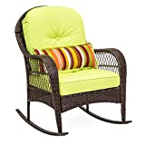 Best Choice Products Outdoor Wicker Rocking Chair for Patio, Porch, Deck, w/Weather-Resistant Cushions, Steel Frame - Green